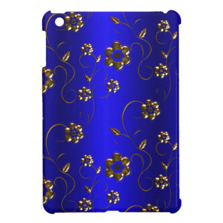 Golden Flowers on Blue Case For The iPad Mini