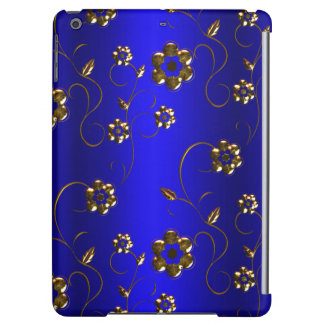 Golden Flowers on Blue iPad Air Cases