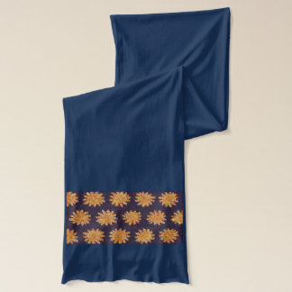 Golden Flowers on Navy Blue Scarf