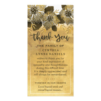 Golden Flowers Thank You Sympathy Card Picture Card