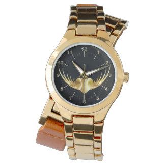 Golden flying heart watch
