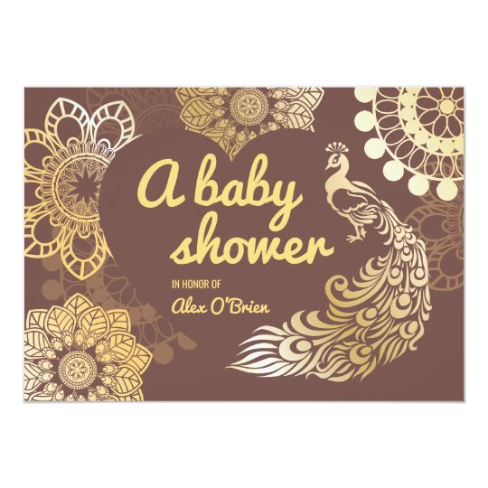 Golden foil peacock drawing baby shower card