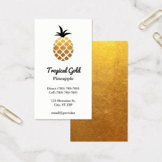 Golden Foil Photo Pineapple Business Card