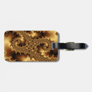 Golden fractal «abstract leaves». Add  your text. Luggage Tag