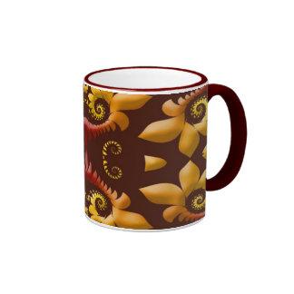 Golden Fractal Leaves on Brown Background Mugs