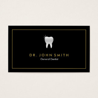 Golden Frame Black Tooth Dental Appointment Business Card