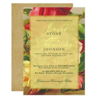 Golden frame chic elegant vintage roses wedding card