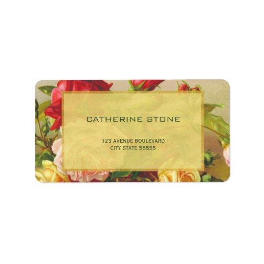 Golden frame chic vintage roses elegant wedding label