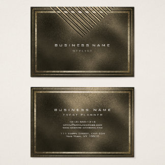Golden Frame Glass Metallic Sepia Geometry Business Card