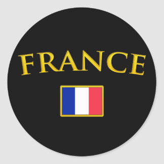 Golden France Classic Round Sticker