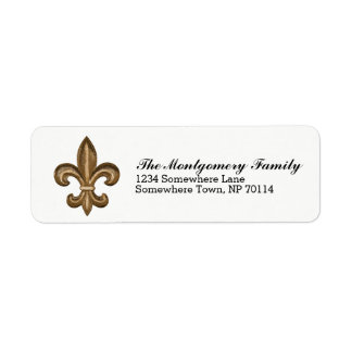Golden French Fleur De Lis Crest & Family Name Return Address Label