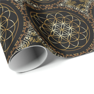 Golden Fruit of Life Mandala Wrapping Paper