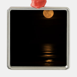 golden full moon over ocean Silver-Colored square ornament