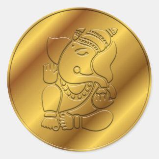 Golden Ganesha Design Round Sticker