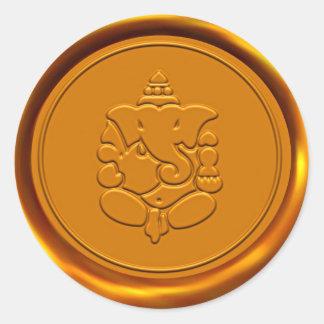 Golden Ganesha Wax Seal Round Sticker