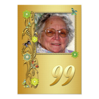 Golden Garden 99th Birthday party invitation
