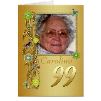 Golden Garden 99th Photo Birthday Card