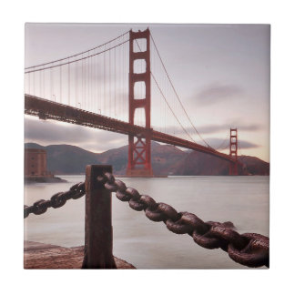 Golden Gate Bridge against mountains Ceramic Tile