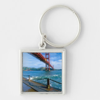 Golden Gate bridge and San Francisco Bay 2 Silver-Colored Square Keychain