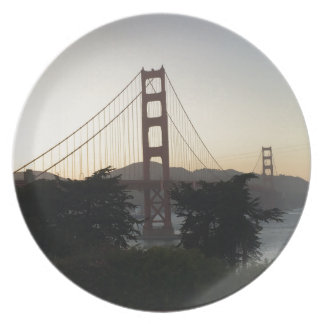 Golden Gate Bridge at Sunset Dinner Plate