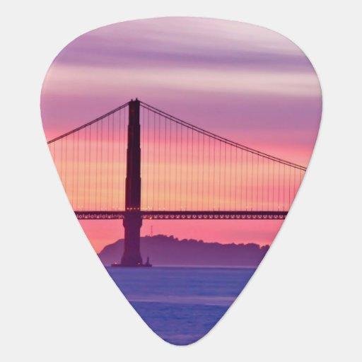 Golden Gate Bridge at Sunset Guitar Pick