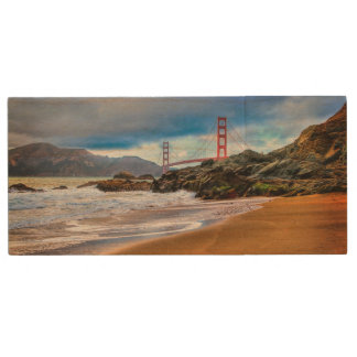 Golden Gate Bridge at sunset Wood USB Flash Drive