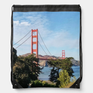 Golden Gate Bridge, California CA Drawstring Bag