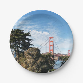 Golden Gate Bridge, California CA Paper Plate