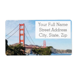 Golden Gate Bridge, California CA Shipping Label