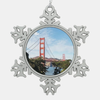 Golden Gate Bridge, California CA Snowflake Pewter Christmas Ornament