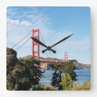 Golden Gate Bridge, California CA Square Wall Clock