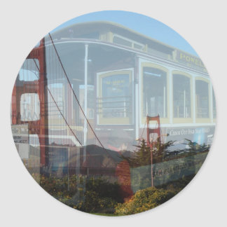 Golden Gate Bridge collage with cablecar 2.jpg Classic Round Sticker
