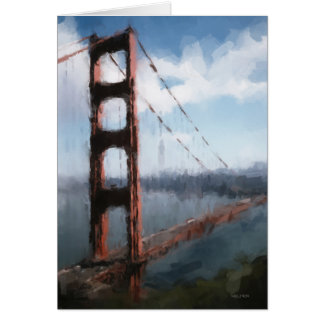 Golden Gate Bridge Digital Oil Painting Card