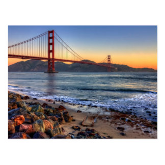 Golden Gate Bridge from San Francisco bay trail. Postcard