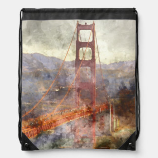 Golden Gate Bridge in San Francisco California Drawstring Bag