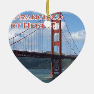 Golden Gate Bridge San Francisco California USA Ceramic Heart Ornament