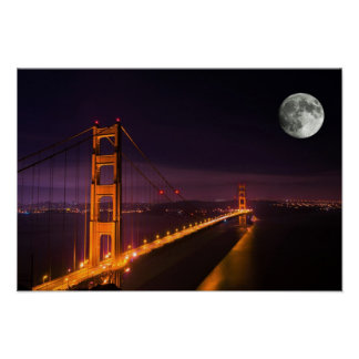 Golden Gate Bridge San Francisco Night Scenery Poster