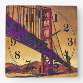Golden gate bridge square wall clock