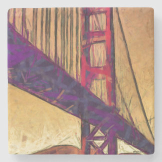 Golden gate bridge stone beverage coaster