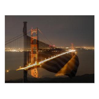 Golden Gate Bridge & USA Flag Postcard