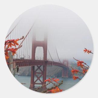 Golden Gate Bridge with Orange Flowers Classic Round Sticker