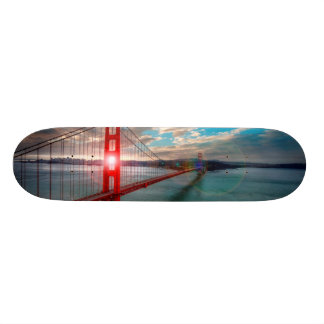 Golden Gate Bridge with Sun Shining through. Skate Deck