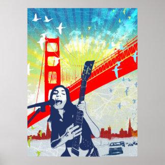 Golden Gate Guitarist Poster