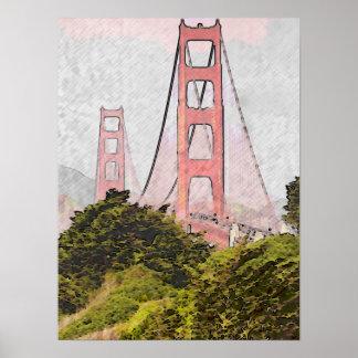 Golden Gate in oil Poster