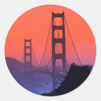 Golden Gate Sunset Classic Round Sticker