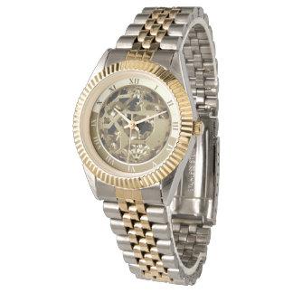 Golden gears roman numbers watch