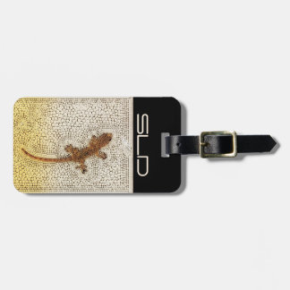 Golden gecko with your own initials luggage tag