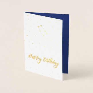 Golden Gemini Constellation Happy Birthday Foil Card