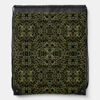 Golden Geo Tribal Pattern Drawstring Bag