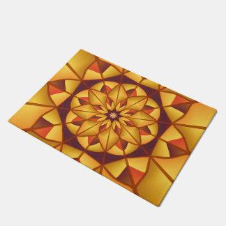 Golden geometric flourish doormat